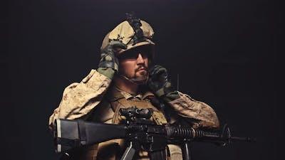 USMC Marine Soldier Takes Off His Helmet in the Dark