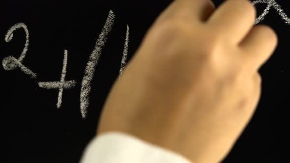 Thumbnail for Hand Writing with Chalk the Algebra Formula on the Blackboard