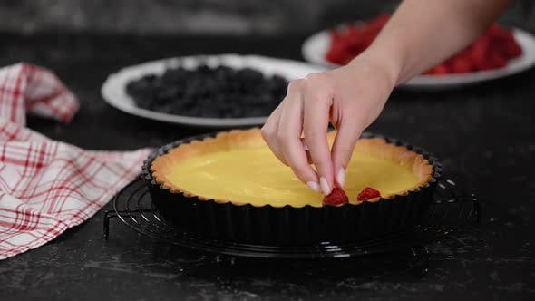 Thumbnail for Woman Making Custard Tart with Berries. Tart with Berries