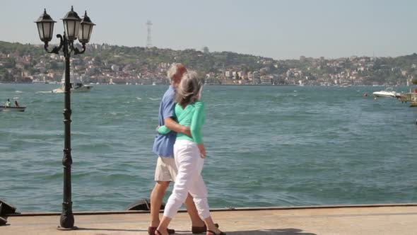 Thumbnail for Couple walking on Promenade at the Bosphorus river Turkey, Istanbul