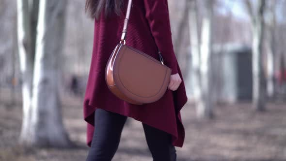 Business Woman with Handbag Walking in the Park
