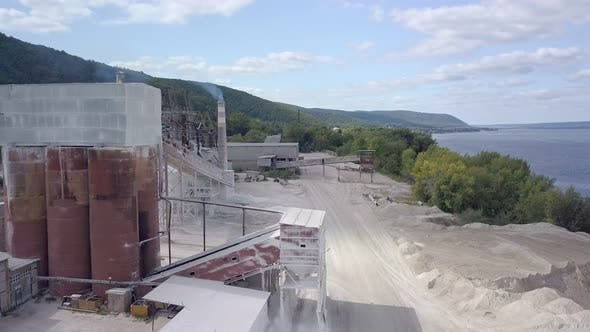 Thumbnail for Aerial View on Buildings of Plant of Mining Limestone in Sunny Day