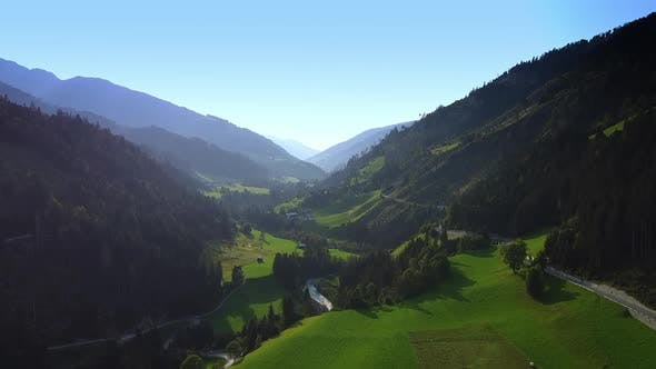 Breathtaking View of Valley Between the Austrian Alps in Sun Light