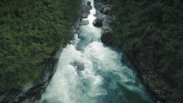 Thumbnail for Dramatic Canyon River Waterfall Landscape Aerial