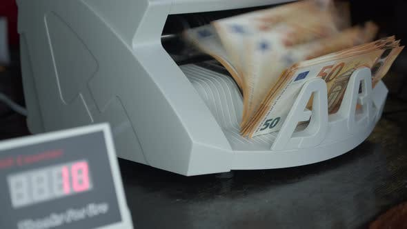 Euro Currency on Money Counting Machine