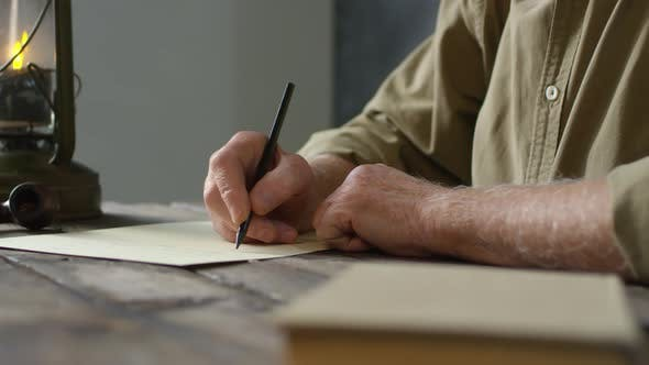 Thumbnail for Old Fashioned Senior Man Writing Letter