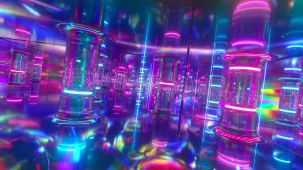 Thumbnail for Fly Through a Futuristic Corridor Along Neon Glass Pillars