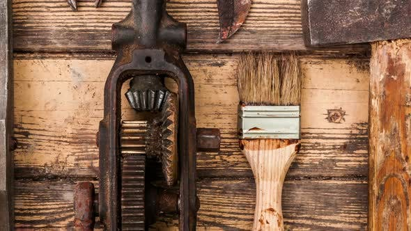 Thumbnail for Old vintage hand tools on wooden background