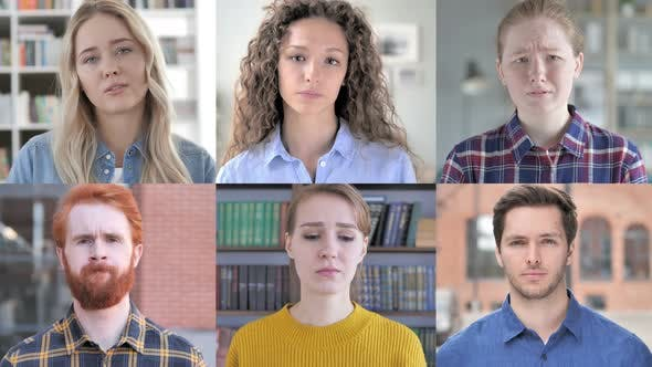 Collage of Young People Looking Sad And in Disbelief