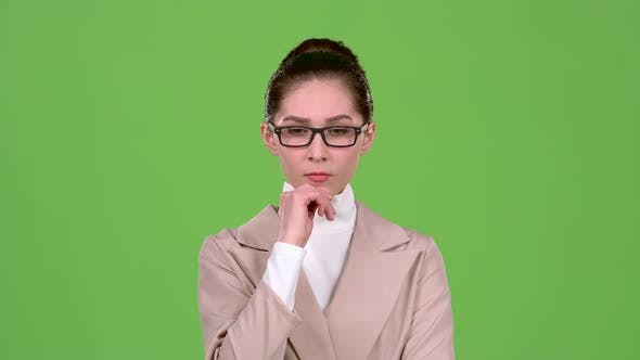 Thumbnail for Chief Woman Thinks About Serious Issues and Finds a Solution. Green Screen