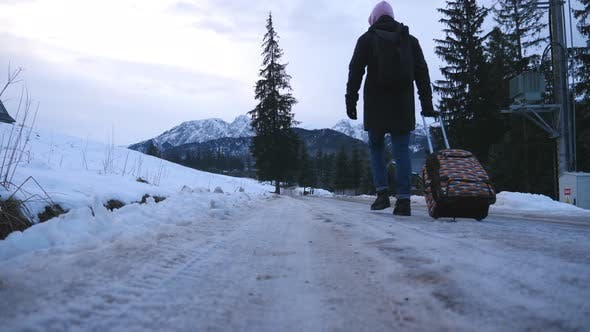 Cover Image for Rear View of Unrecognizable Man Walks on Trail and Pulling Suitcase on Wheels During Winter Day