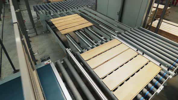 Thumbnail for Parkettplatten werden auf der Produktionslinie in der Holzbearbeitungsanlage verarbeitet