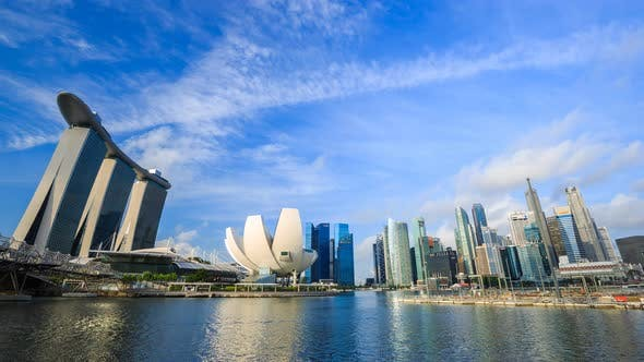 4k Time-lapse of view of cityscape of Singapore city