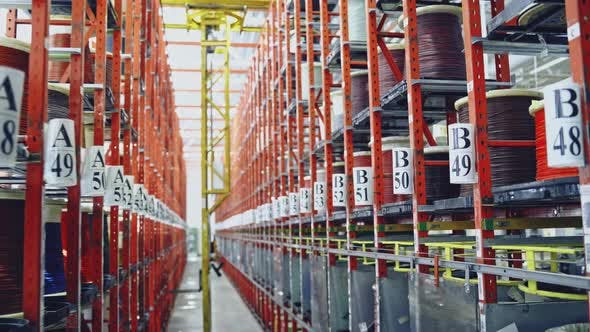 Thumbnail for Modern cable factory. Cable warehouse interior with shelves