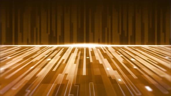 Animation einer Gruppe von parallelen gelben und goldenen Lichtspuren