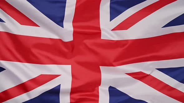 Background of UK flag waving in the wind