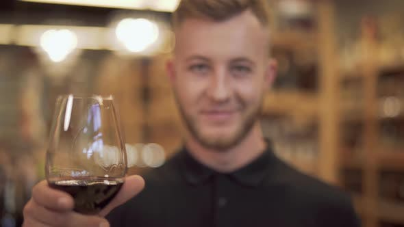 Thumbnail for Portrait of Handsome Man Raising His Wine Glass Closeup