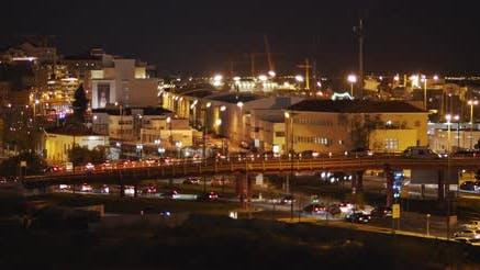 Lisbon city night traffic