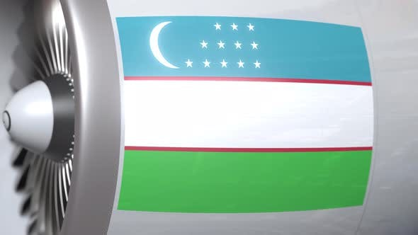 Thumbnail for Nationalflagge von Usbekistan auf Airliner Tourbine