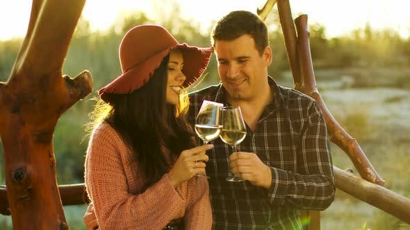 Thumbnail for Couple Having a Romantic Moment, Tasting Some Wine