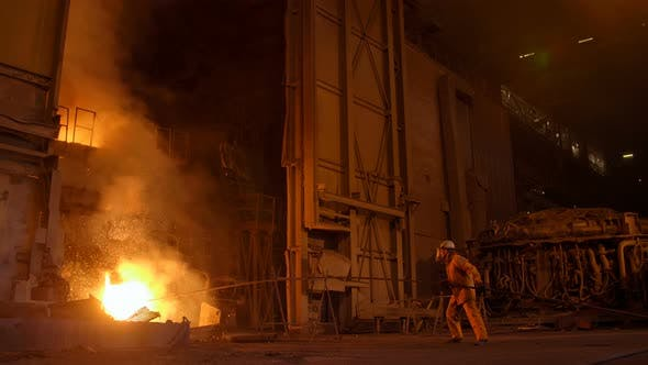 Thumbnail for Metallurgist at Work By the Blast Furnance, Iron and Steel Works