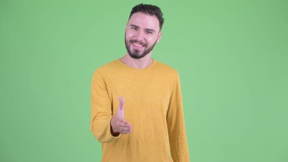 Thumbnail for Happy Young Handsome Bearded Man Giving Handshake