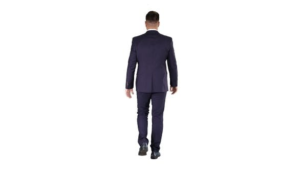 Thumbnail for Confident businessman walking on white background.