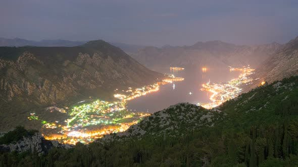 Natural Bay Travel Destination Night View, Fjord of Kotor, Montenegro