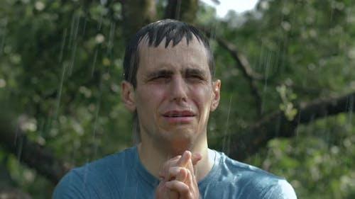 Crying Man Under the Rain