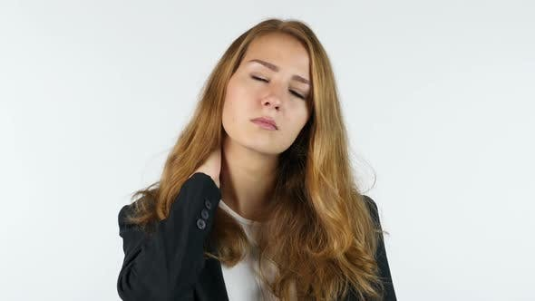Thumbnail for Businesswoman  Suffering From Neckpain, White background