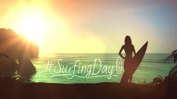 Silhouette Of A Girl With A Surfboard On A Sunset Background HD