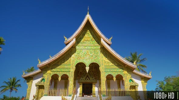 Front Facade of a Buddhist Temple in Southeast Asia