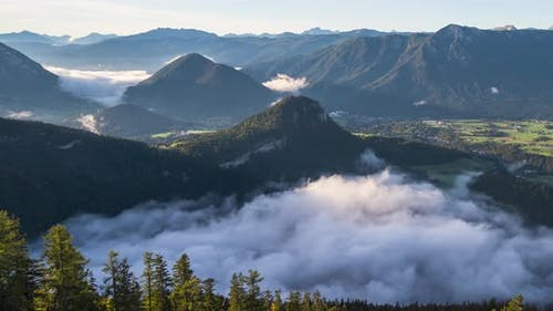Clouds and Fog Time Lapse in Mountain Valley