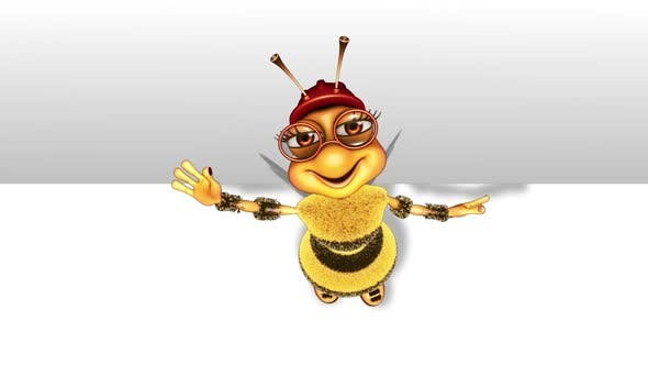 Cartoon Bee Promo  Looped on White Background