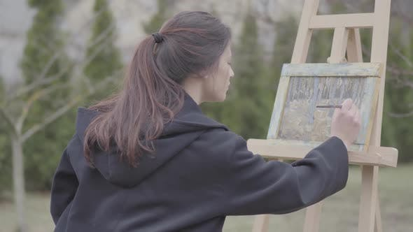 Cover Image for Successful Artist Paints on the Canvas in the Backyard. Beautiful Enthusiastic Girl Engaged in