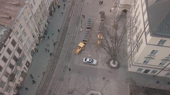 Thumbnail for Aerial City Lviv, Ukraine. European City. Tourist Tram Rides Down City Center