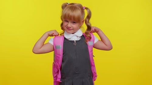 Lovely Confident Child Kid Girl in School Uniform Showing Biceps Feeling Power Strength for Study