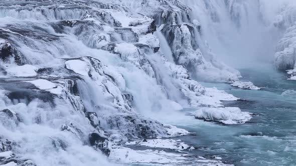 Thumbnail for Beautiful Gullfoss Waterfall. Iceland. Winter View at Dawn