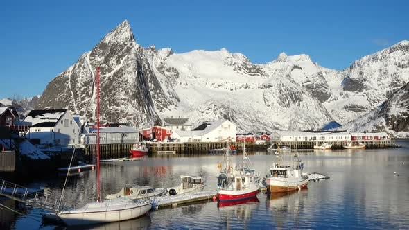 Thumbnail for Norwegian Winter Landscape With The Multicolored Rorbu And Fishing Ships 21