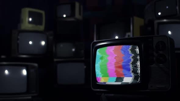 Old Broken Retro TV with Color Bars.