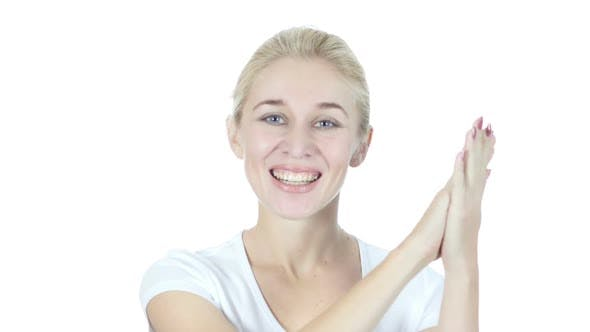 Thumbnail for Woman Clapping for Team, White Background