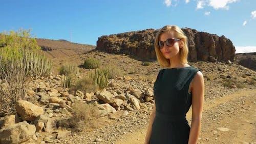 Beautiful Model Wearing Sunglasses  in Gran Canaria Valley