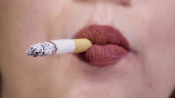 Thumbnail for Female Lips Smoking Focus
