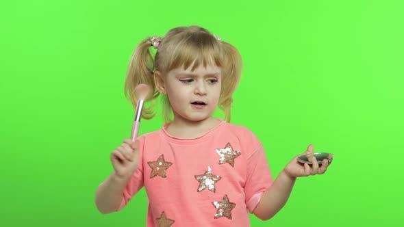 Thumbnail for Caucasian Girl on Chroma Key Background. Cosmetics, Makeup, Powder and Brush