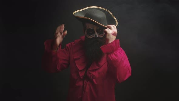 Thumbnail for Young Man with a Stylish Hat Disguised As a Pirate