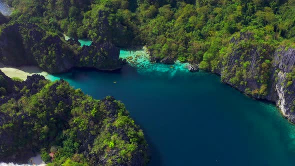 Thumbnail for Rocky Mountains with Big Paradise Lagoons in El Nido, Palawan, Philippines. Aerial View