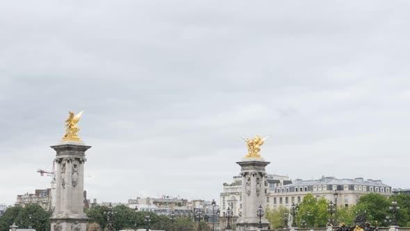 Thumbnail for Paris and France Alexander III bridge golden statues tilt 4K 2160p UltraHD tilt footage - Paris and
