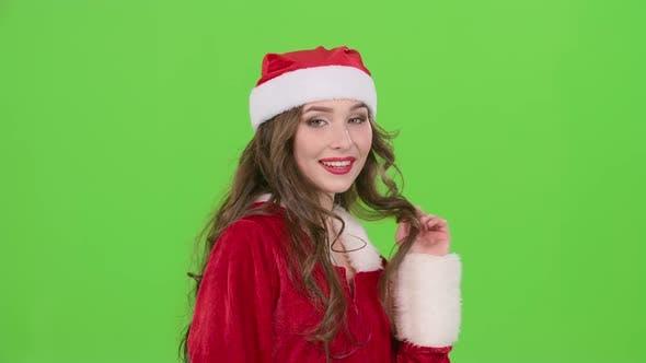 Thumbnail for Santa Woman Begins Flirting . Green Screen. Close Up