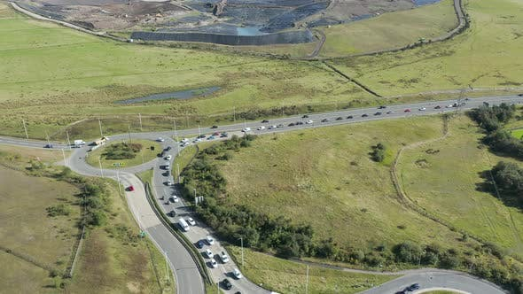 Aerial view of traffic approaching a roundabout