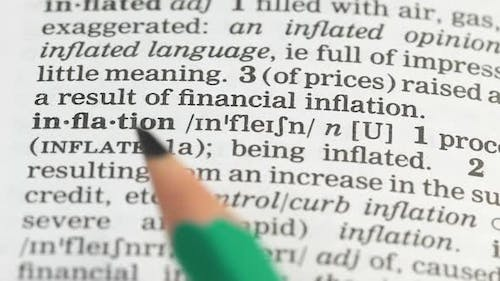 Inflation, Pencil Pointing Word in English Vocabulary, Budget Decreasing, Debt
